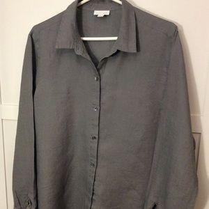 J Jill Love Linen L Button Up Gray Boyfriend Shirt